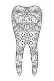 Декоративный черно-белый зуб Стоковое Изображение RF
