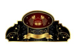 декоративный ярлык виноградного вина золота рамки иллюстрация вектора