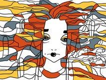 Декоративный handdrawn портрет женщины Стоковые Изображения