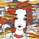 Декоративный handdrawn портрет женщины Стоковое Изображение