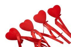 4 декоративных сердца при изолированная лента Стоковые Фото