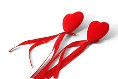 2 декоративных сердца с лентой Стоковое фото RF