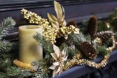 Декор рождества с свечой стоковые фото