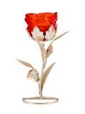 Декор цветка серебряного стекла розовый изолированный на белизне Стоковое фото RF