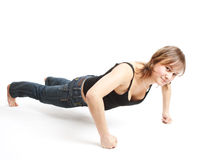 делает спорты девушки тренировок Стоковые Изображения