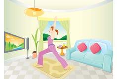 делать домашнюю йогу женщины Стоковые Изображения