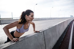 Делать женщины детенышей подходящий нажимает вверх на мосте Стоковые Фото