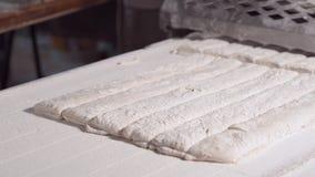 Делать ломоть хлеба в пекарне ломоть хлеба теста на производственной линии в печь индустрии сток-видео