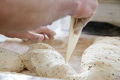Делать тесто мужскими руками на хлебопекарне Стоковые Фото