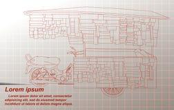 Делать эскиз к портативного стойла в Таиланде иллюстрация штока