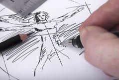 Делать эскиз к руке Стоковые Изображения RF