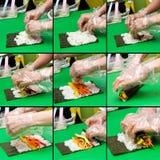 делать kimbap коллажа стоковые изображения