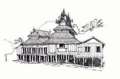 делающ эскиз к виску тайскому Стоковая Фотография
