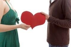 делить сердца пар их Стоковая Фотография