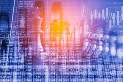 Деловая игра на цифровой фондовой бирже финансовой и backgr шахмат Стоковая Фотография