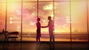 Деловые партнеры трясут руки на предпосылке корпоративного infographics стоковое фото rf