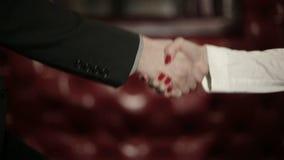 Деловые партнеры укомплектовывают личным составом и женщина делая рукопожатие движение медленное
