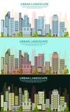 Деловые центры во дне и nighttime Самомоднейшие небоскребы стоковое фото
