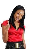 дело афроамериканца давая большие пальцы руки поднимает женщину Стоковая Фотография RF