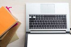 Дело блокнотов компьтер-книжки рабочего места офиса Стоковое Изображение RF