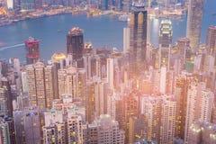 Дело Гонконга взгляд сверху городское Стоковое Фото