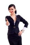 дело давая большие пальцы руки поднимает женщину Стоковая Фотография RF