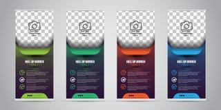 Дело 4 других цветов свертывает вверх Дизайн Standee шаблон знамени Представление и брошюра также вектор иллюстрации притяжки cor Стоковые Изображения