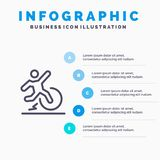 Дело, изменение, комфорт, избежание, линия значок разрешения с предпосылкой infographics представления 5 шагов иллюстрация штока