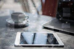 Дело, интернет и концепция технологии Предпосылка виртуального экрана стоковые фото