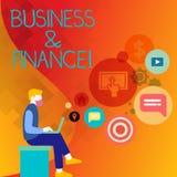 Дело и финансы показа знака текста Схематическое фото ссылается на деньги и кредит используемые в усаживании бизнесмена иллюстрация штока