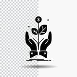 дело, компания, рост, завод, значок глифа подъема на прозрачной предпосылке r иллюстрация вектора