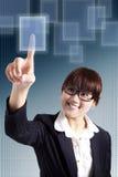 дело отжимая женщину сенсорного экрана стоковые фото