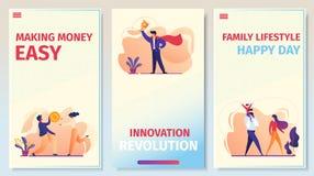 Дело, отношения, набор страницы приложения успеха мобильный иллюстрация штока