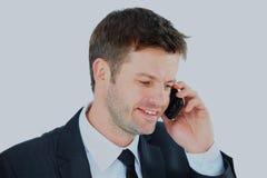 дело предпосылки изолировало белизну студии съемки портрета телефона человека Стоковые Изображения RF