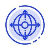 Дело, раскрытие, управление, линия значок голубой пунктирной линии продукта иллюстрация вектора