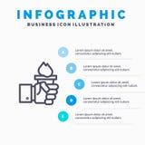 Дело, рука, руководитель, руководство, олимпийская линия значок с предпосылкой infographics представления 5 шагов бесплатная иллюстрация