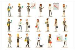 Дело, финансы и работники офиса в костюмах занятых на комплекте работы характеров бизнесмена и коммерсантки шаржа иллюстрация вектора