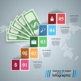 Дело Infographics Доллар, значок денег иллюстрация штока