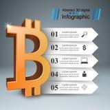 Дело Infographics Bitcoin, значок денег иллюстрация вектора