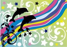 дельфины предпосылки Иллюстрация штока