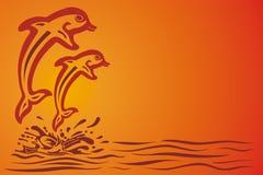 дельфины скача над 2 волнами Стоковые Фотографии RF