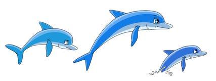 дельфины шаржа иллюстрация штока