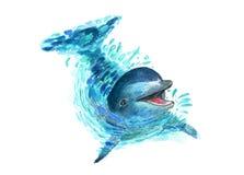 Дельфин брызгает в воде Искусство акварели Стоковые Изображения