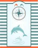 Дельфин и лимб картушки компаса Стоковое Изображение RF
