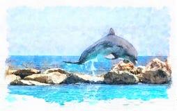 Дельфин танцев в голубом море иллюстрация штока