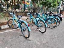 Делят циклы припаркованные в Бангалоре, Индии стоковые изображения