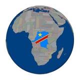 Демократичная Республика Конго на политическом глобусе Стоковые Фото