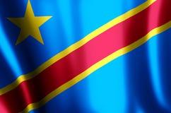 Демократичные развевать Республики Конго красочные и иллюстрация флага крупного плана бесплатная иллюстрация