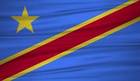Демократичный вектор флага Республики Конго Vector флаг демократичного blowig Республики Конго в ветре Стоковое Изображение