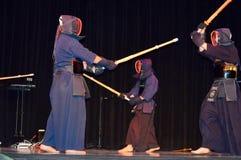 Демонстрации шпаг Kendo фестиваль японской культурный Стоковые Фото